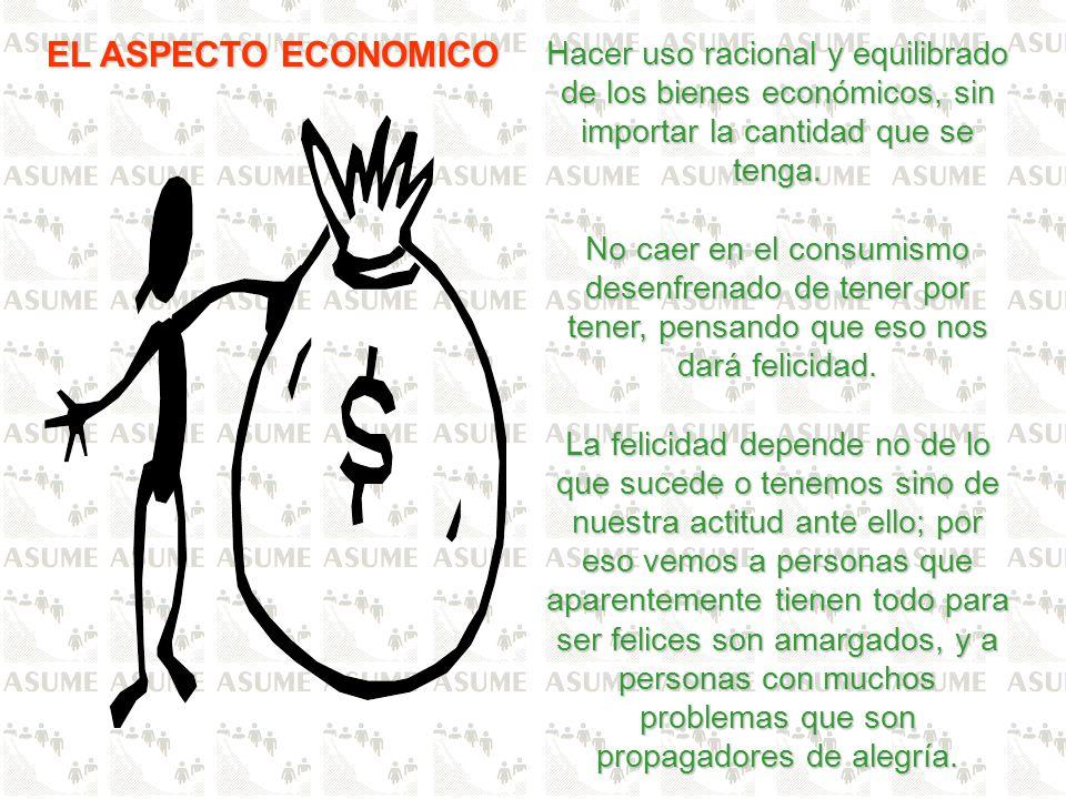 EL ASPECTO ECONOMICO Hacer uso racional y equilibrado de los bienes económicos, sin importar la cantidad que se tenga.
