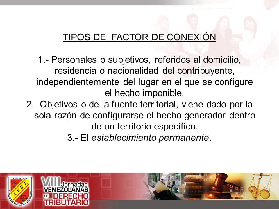TIPOS DE FACTOR DE CONEXIÓN