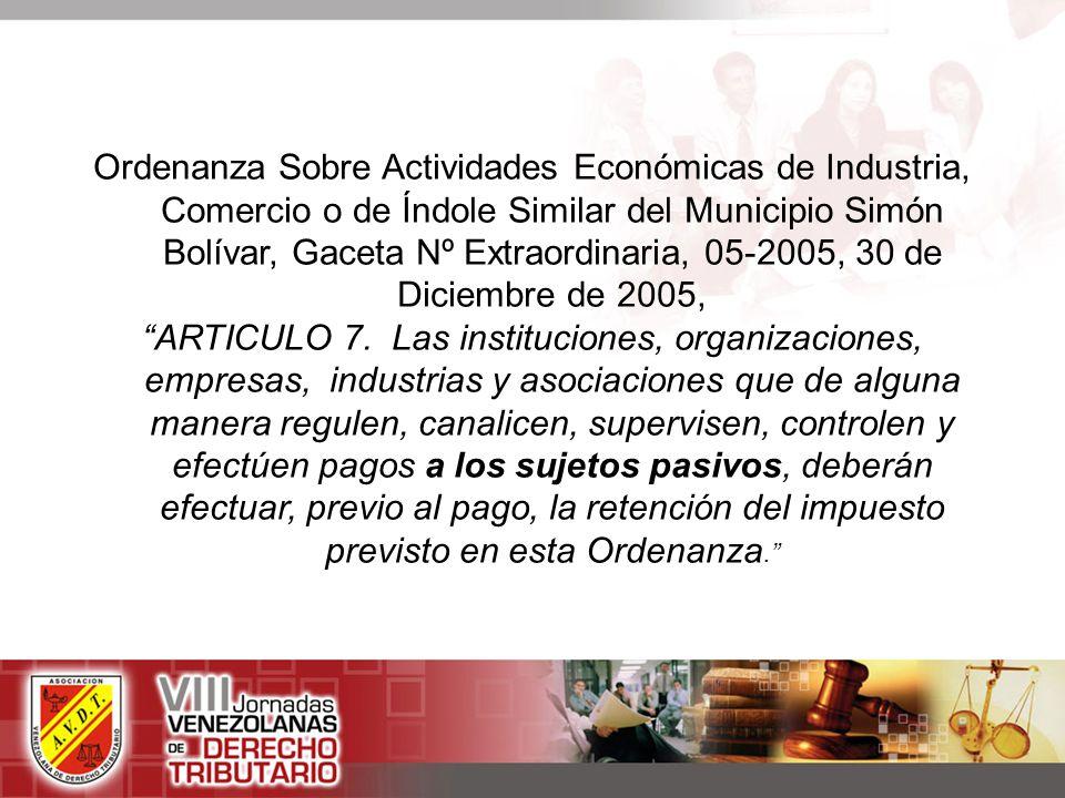 Ordenanza Sobre Actividades Económicas de Industria, Comercio o de Índole Similar del Municipio Simón Bolívar, Gaceta Nº Extraordinaria, 05-2005, 30 de Diciembre de 2005,