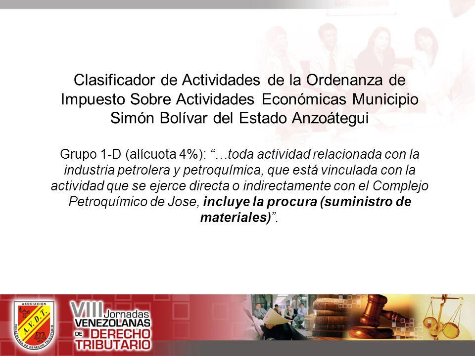 Clasificador de Actividades de la Ordenanza de Impuesto Sobre Actividades Económicas Municipio Simón Bolívar del Estado Anzoátegui