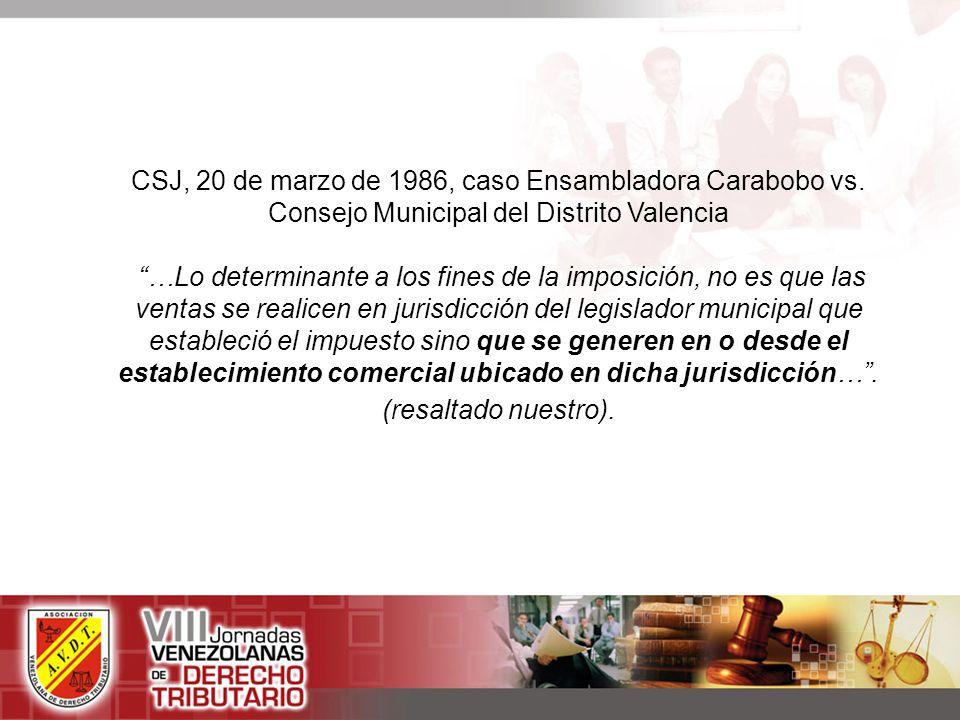 CSJ, 20 de marzo de 1986, caso Ensambladora Carabobo vs