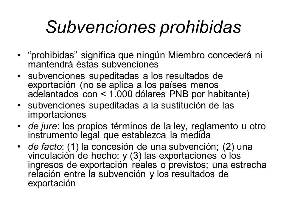 Subvenciones prohibidas