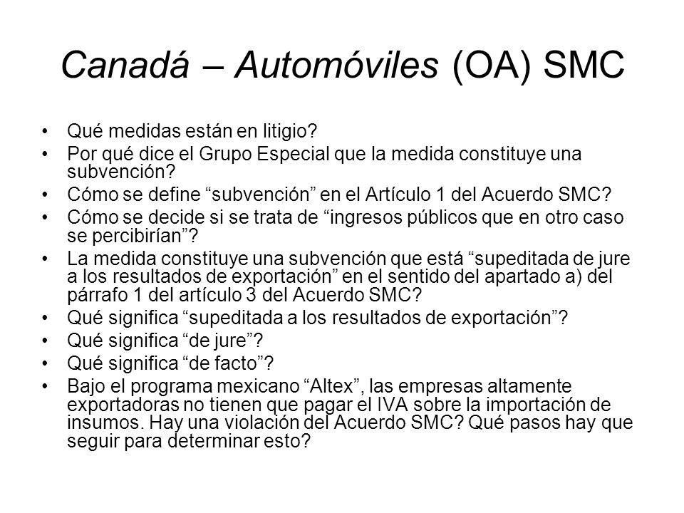 Canadá – Automóviles (OA) SMC