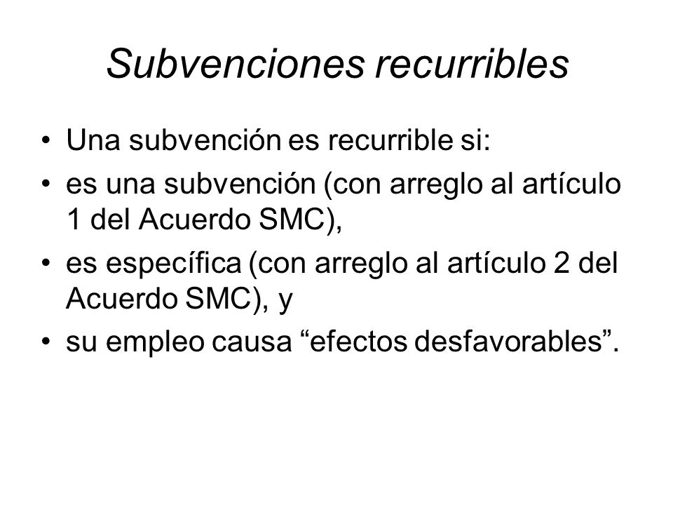 Subvenciones recurribles