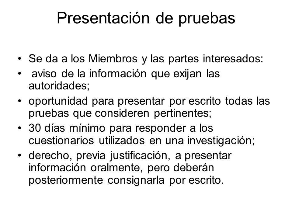 Presentación de pruebas