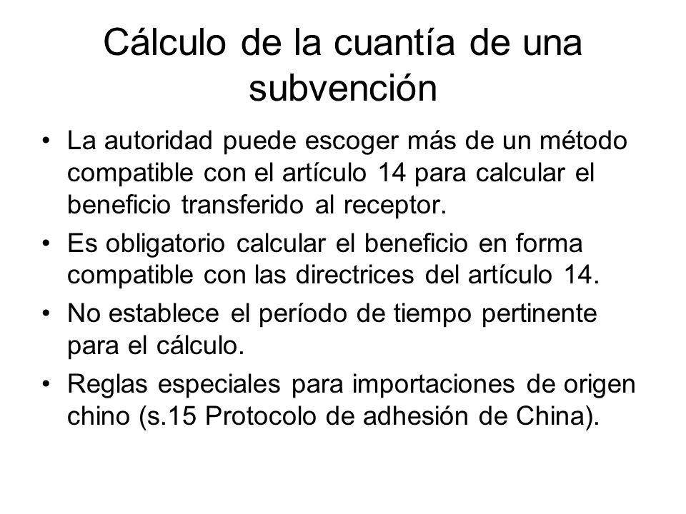 Cálculo de la cuantía de una subvención