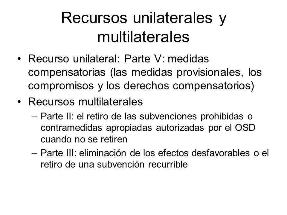Recursos unilaterales y multilaterales