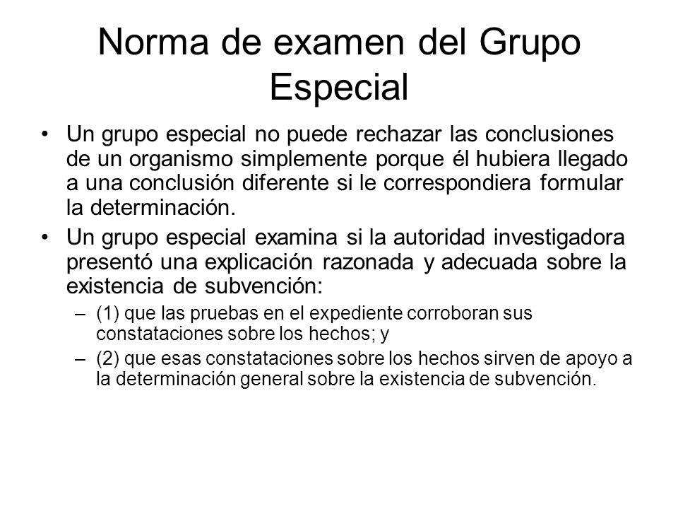 Norma de examen del Grupo Especial