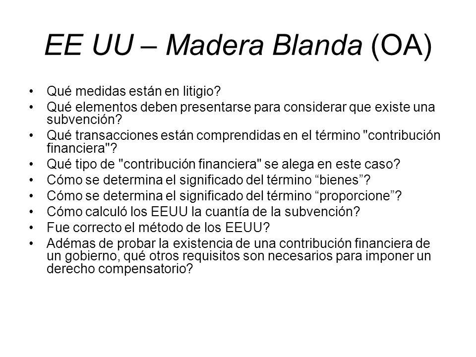 EE UU – Madera Blanda (OA)