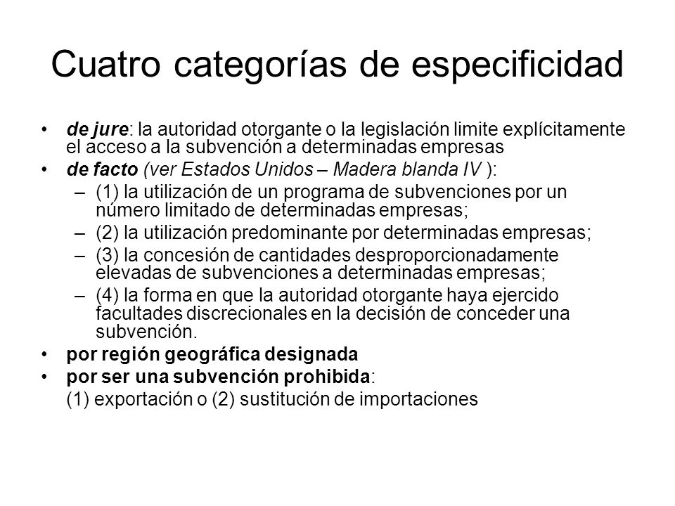 Cuatro categorías de especificidad
