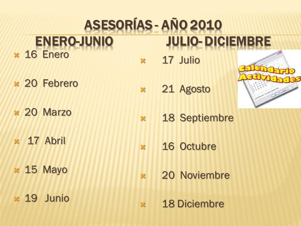 ASESORÍAS - año 2010 enero-junio julio- diciembre
