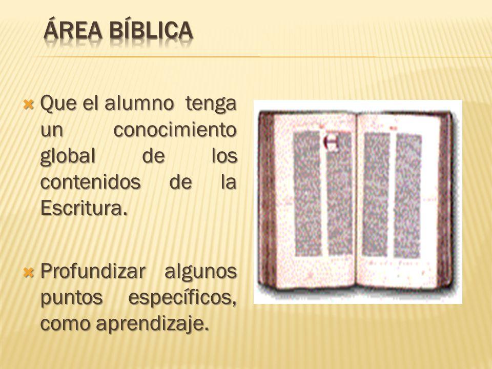 Área Bíblica Que el alumno tenga un conocimiento global de los contenidos de la Escritura.