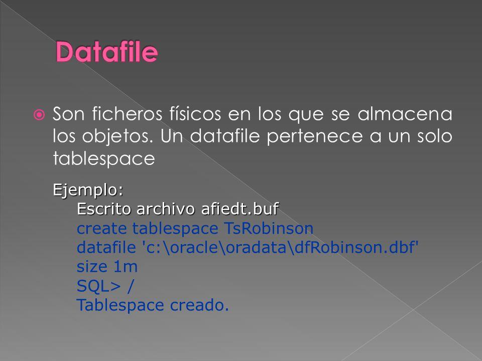 Datafile Son ficheros físicos en los que se almacena los objetos. Un datafile pertenece a un solo tablespace.