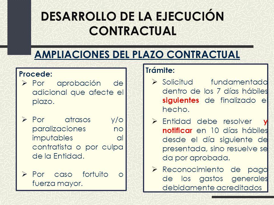 Desarrollo de la ejecución contractual