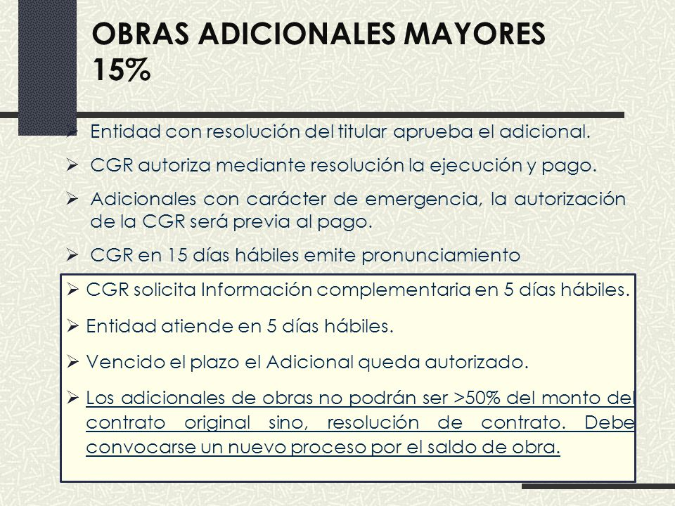 Obras adicionales mayores 15%