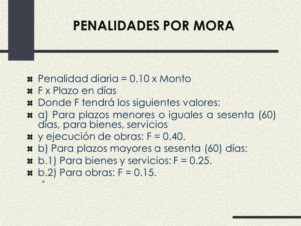 Penalidades por MORA Penalidad diaria = 0.10 x Monto F x Plazo en días