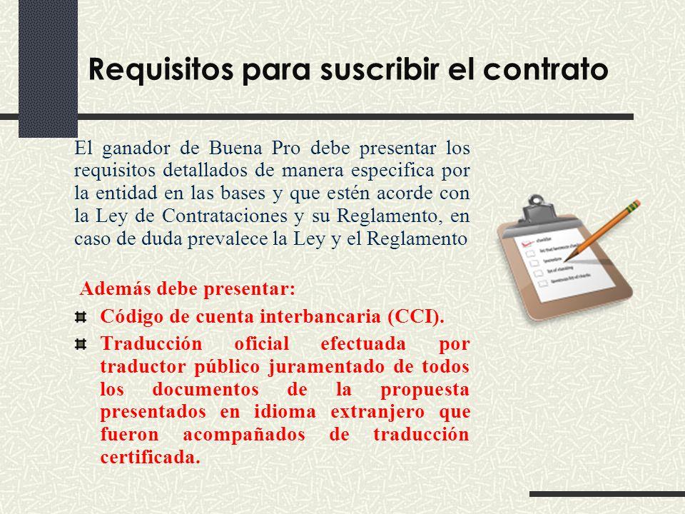 Requisitos para suscribir el contrato