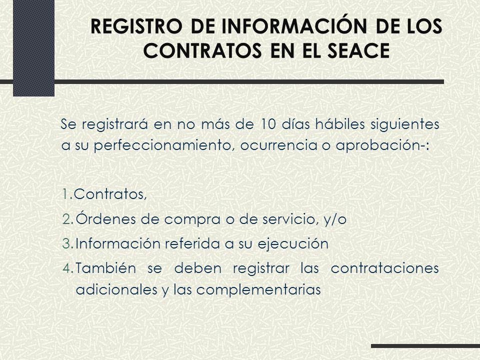 REGISTRO DE INFORMACIÓN DE LOS CONTRATOS EN EL SEACE