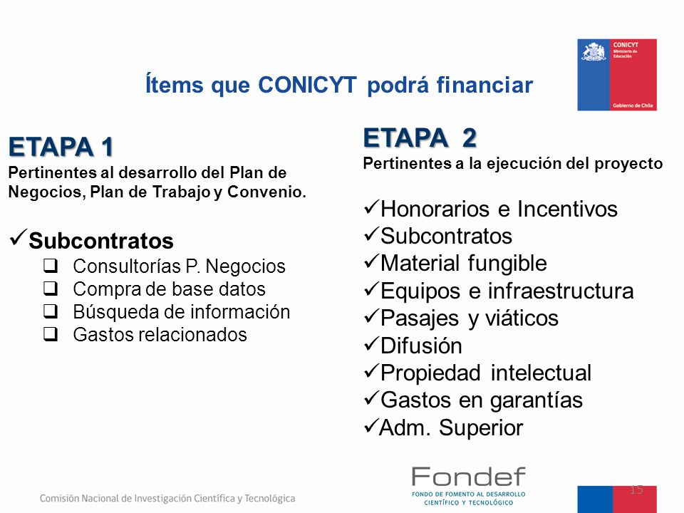 Ítems que CONICYT podrá financiar