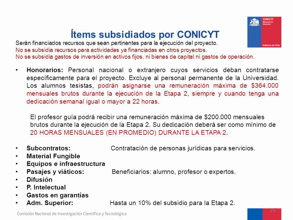 Ítems subsidiados por CONICYT