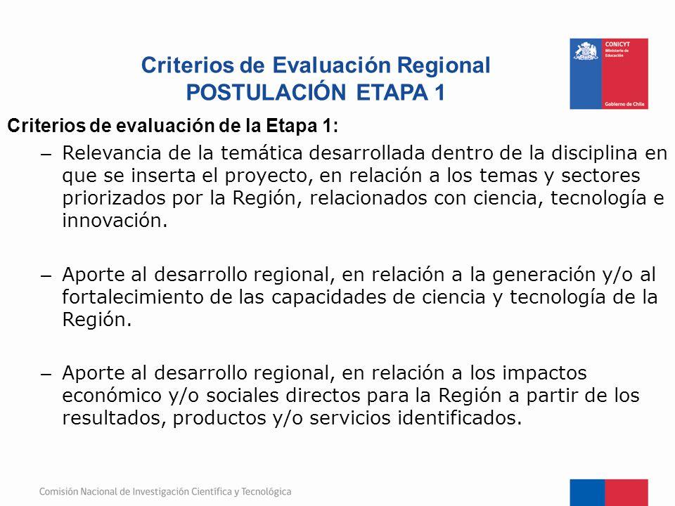 Criterios de Evaluación Regional