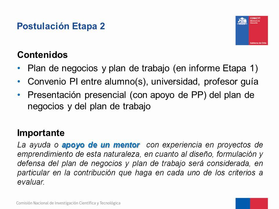 Plan de negocios y plan de trabajo (en informe Etapa 1)