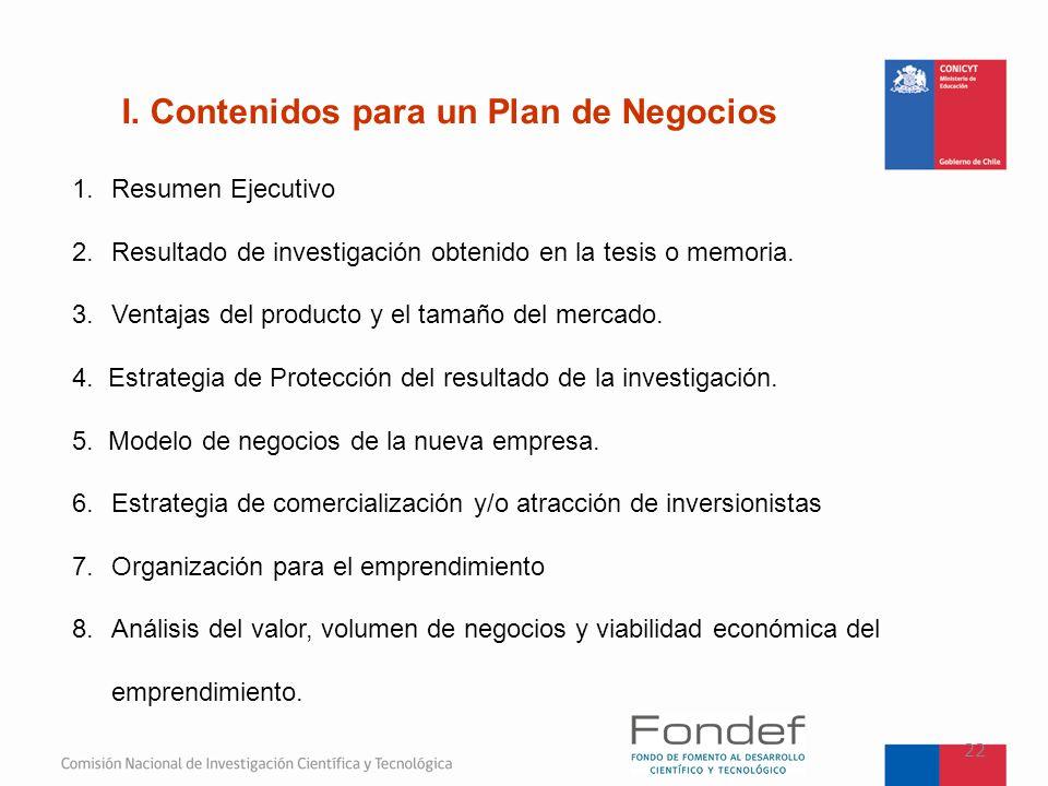 I. Contenidos para un Plan de Negocios
