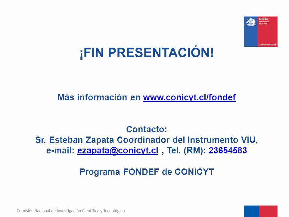¡FIN PRESENTACIÓN. Más información en www. conicyt