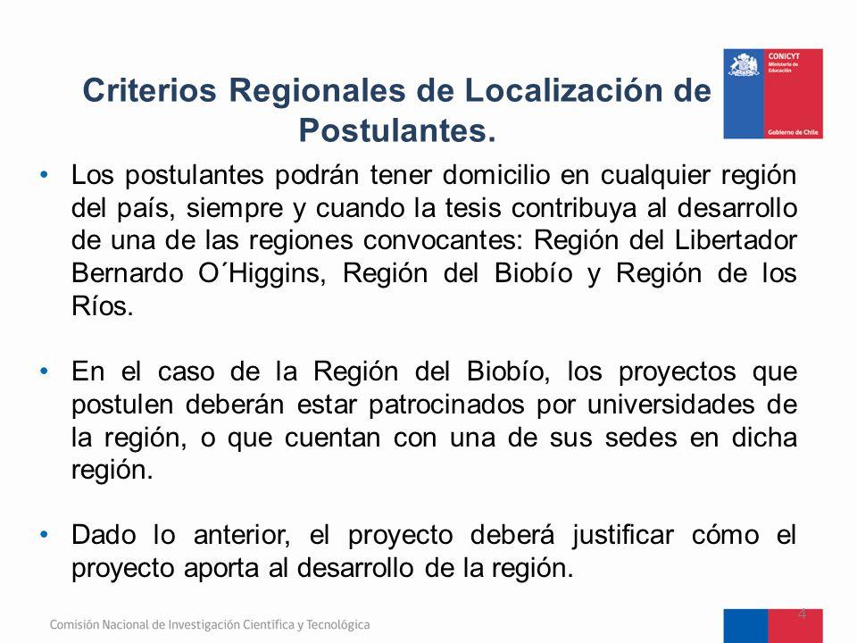 Criterios Regionales de Localización de Postulantes.