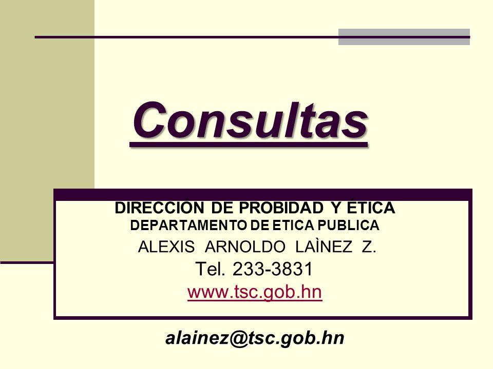 DIRECCIÓN DE PROBIDAD Y ÉTICA DEPARTAMENTO DE ETICA PUBLICA