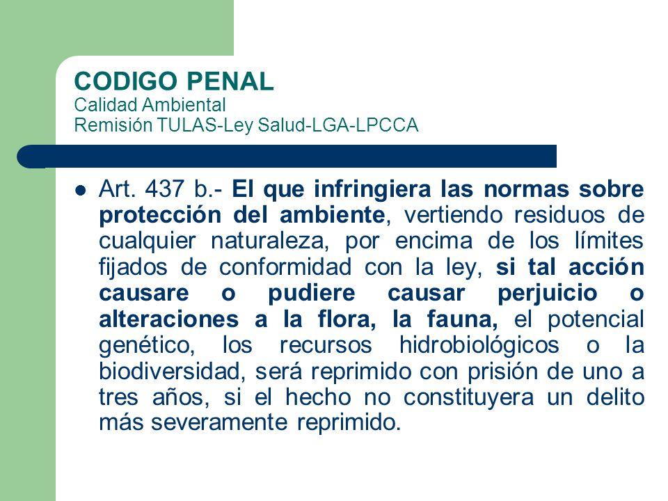 CODIGO PENAL Calidad Ambiental Remisión TULAS-Ley Salud-LGA-LPCCA