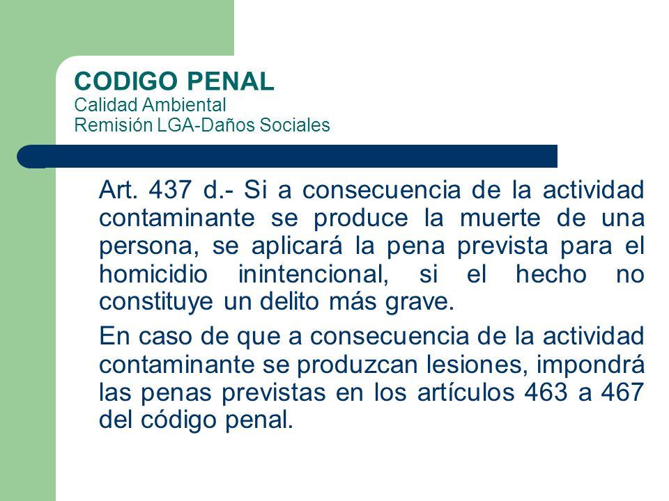 CODIGO PENAL Calidad Ambiental Remisión LGA-Daños Sociales