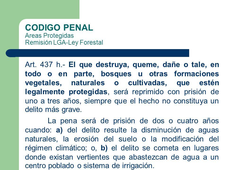 CODIGO PENAL Areas Protegidas Remisión LGA-Ley Forestal