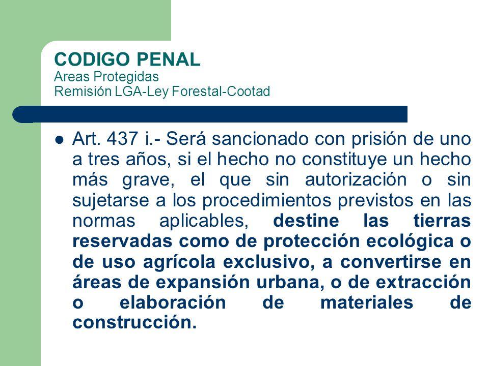 CODIGO PENAL Areas Protegidas Remisión LGA-Ley Forestal-Cootad