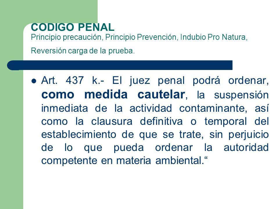 CODIGO PENAL Principio precaución, Principio Prevención, Indubio Pro Natura, Reversión carga de la prueba.