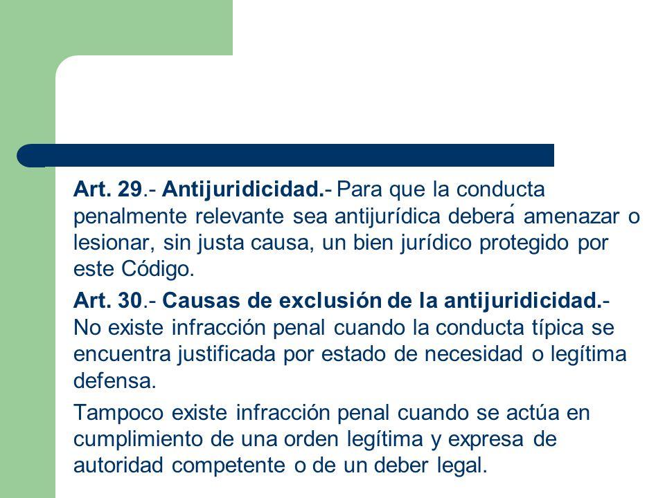 Art. 29.- Antijuridicidad.- Para que la conducta penalmente relevante sea antijurídica deberá amenazar o lesionar, sin justa causa, un bien jurídico protegido por este Código.