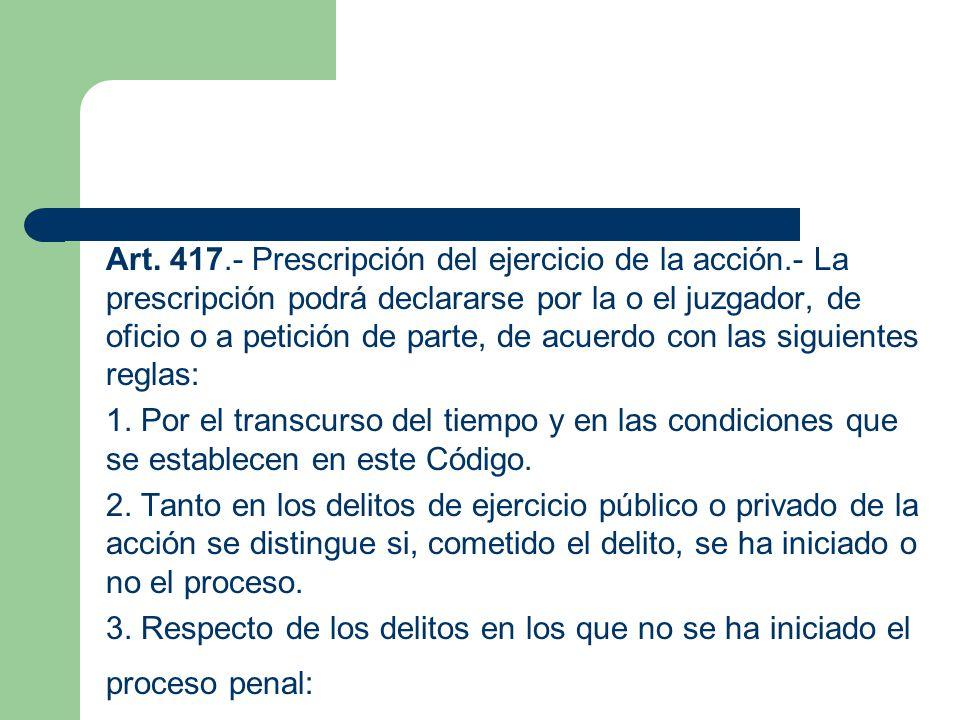 Art. 417. - Prescripción del ejercicio de la acción
