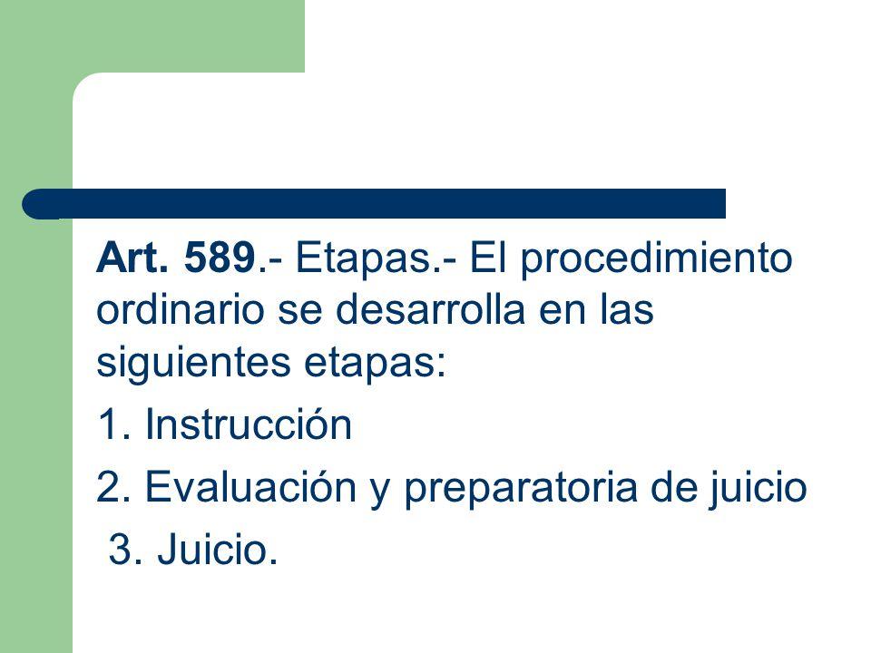 Art. 589.- Etapas.- El procedimiento ordinario se desarrolla en las siguientes etapas: