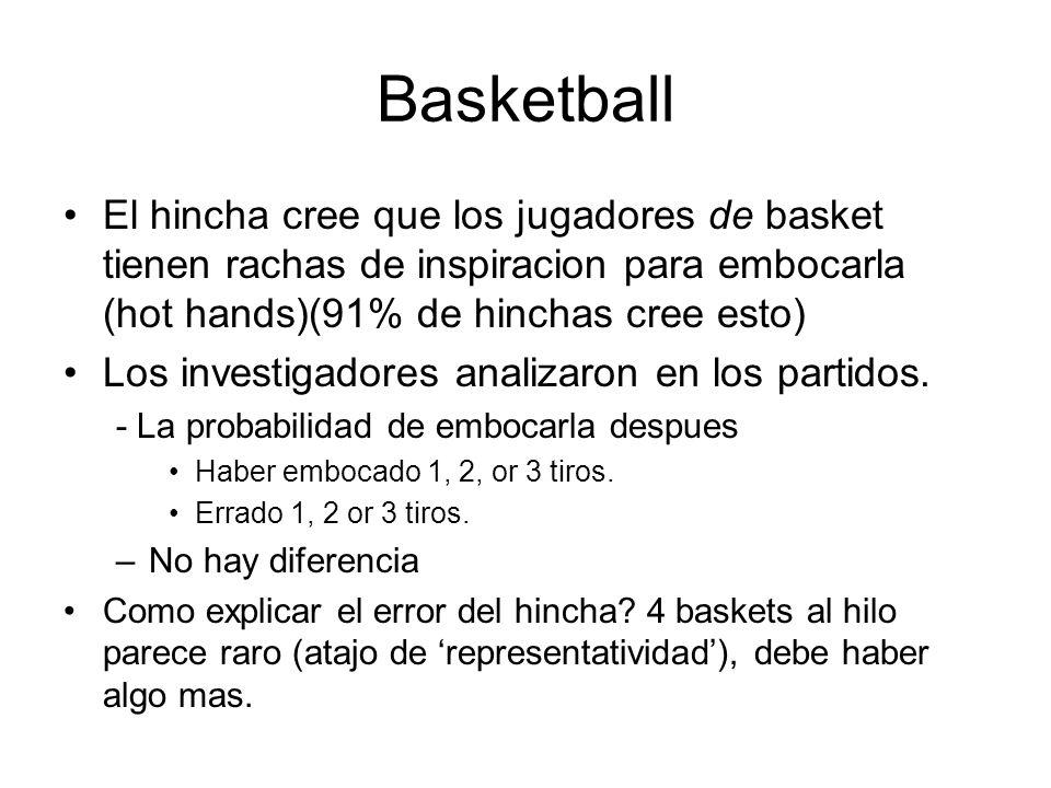 Basketball El hincha cree que los jugadores de basket tienen rachas de inspiracion para embocarla (hot hands)(91% de hinchas cree esto)
