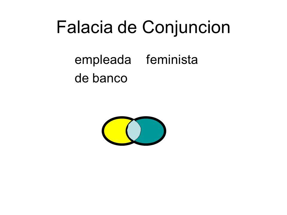 Falacia de Conjuncion empleada feminista de banco