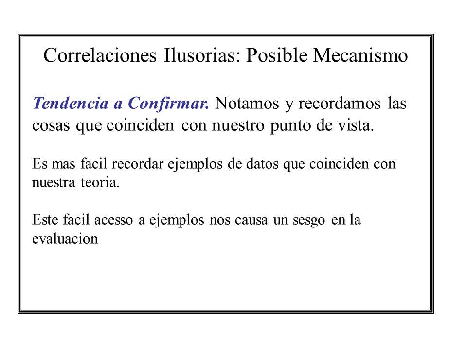 Correlaciones Ilusorias: Posible Mecanismo