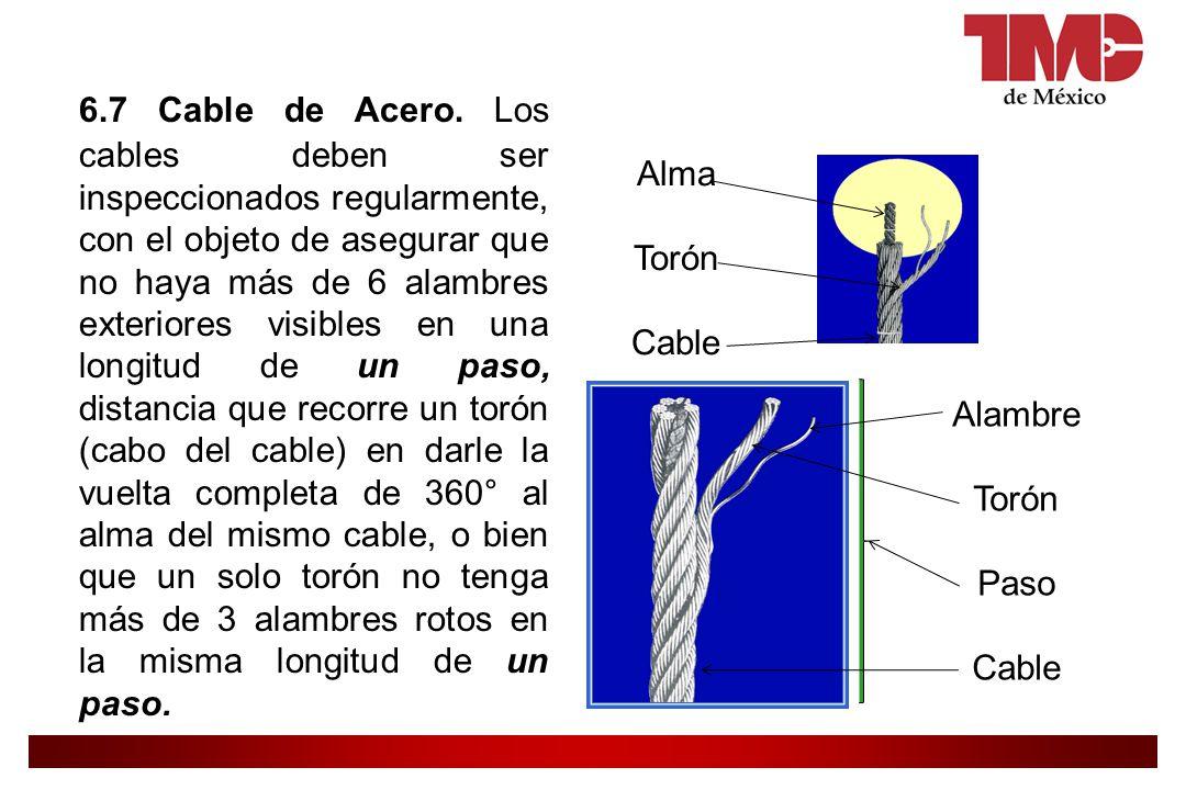 6.7 Cable de Acero. Los cables deben ser inspeccionados regularmente, con el objeto de asegurar que no haya más de 6 alambres exteriores visibles en una longitud de un paso, distancia que recorre un torón (cabo del cable) en darle la vuelta completa de 360° al alma del mismo cable, o bien que un solo torón no tenga más de 3 alambres rotos en la misma longitud de un paso.