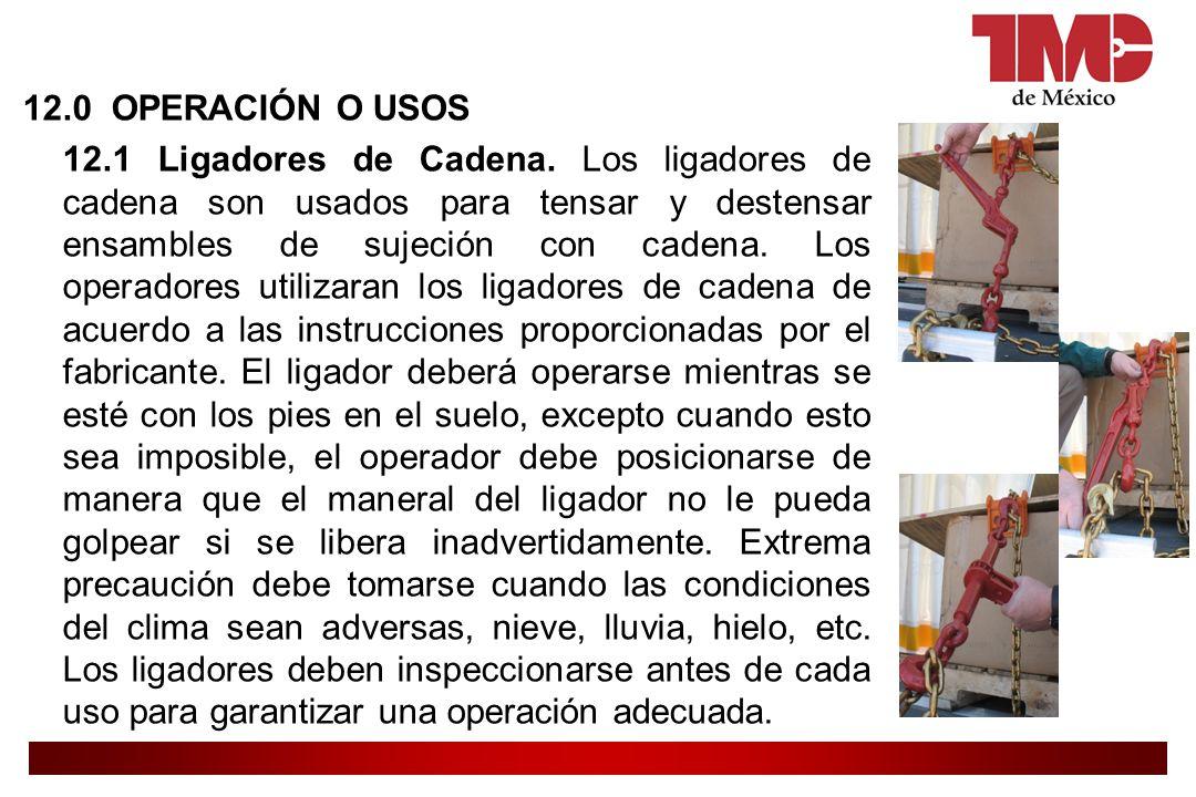 12. 0 OPERACIÓN O USOS 12. 1 Ligadores de Cadena
