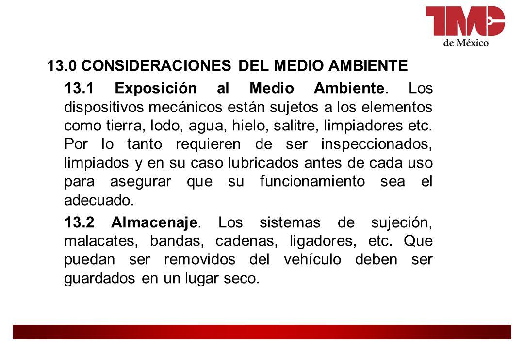 13. 0 CONSIDERACIONES DEL MEDIO AMBIENTE 13