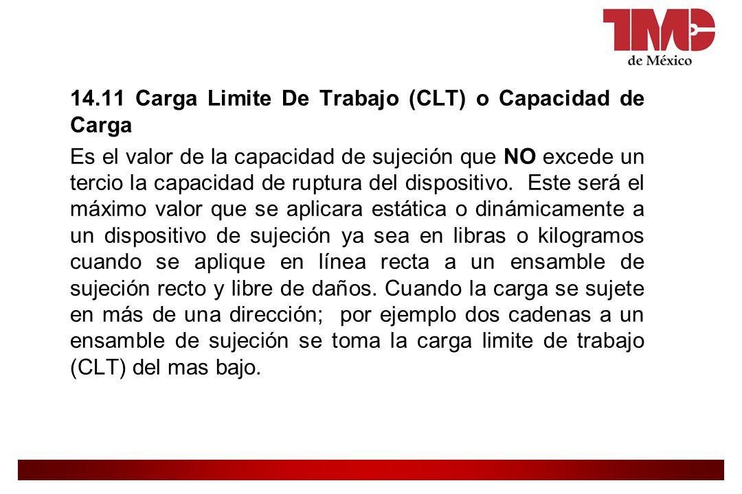 14.11 Carga Limite De Trabajo (CLT) o Capacidad de Carga Es el valor de la capacidad de sujeción que NO excede un tercio la capacidad de ruptura del dispositivo.