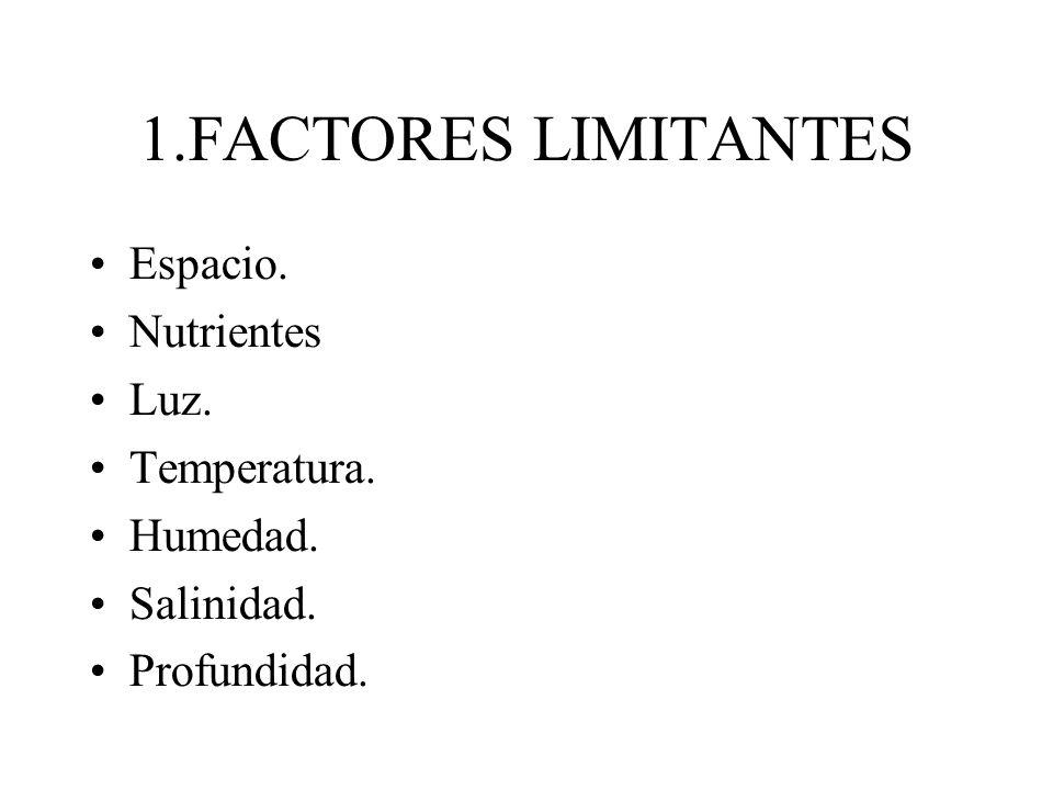 1.FACTORES LIMITANTES Espacio. Nutrientes Luz. Temperatura. Humedad.