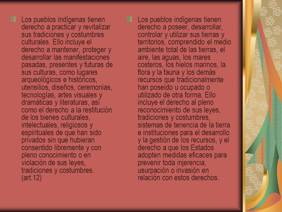 Los pueblos indígenas tienen derecho a practicar y revitalizar sus tradiciones y costumbres culturales. Ello incluye el derecho a mantener, proteger y desarrollar las manifestaciones pasadas, presentes y futuras de sus culturas, como lugares arqueológicos e históricos, utensilios, diseños, ceremonias, tecnologías, artes visuales y dramáticas y literaturas, así como el derecho a la restitución de los bienes culturales, intelectuales, religiosos y espirituales de que han sido privados sin que hubieran consentido libremente y con pleno conocimiento o en violación de sus leyes, tradiciones y costumbres. (art.12)