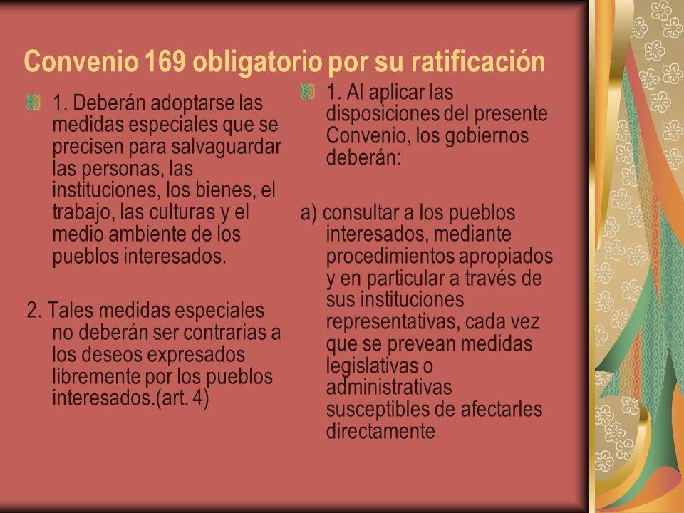 Convenio 169 obligatorio por su ratificación