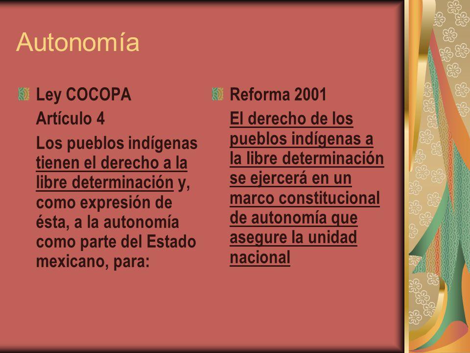 Autonomía Ley COCOPA Artículo 4