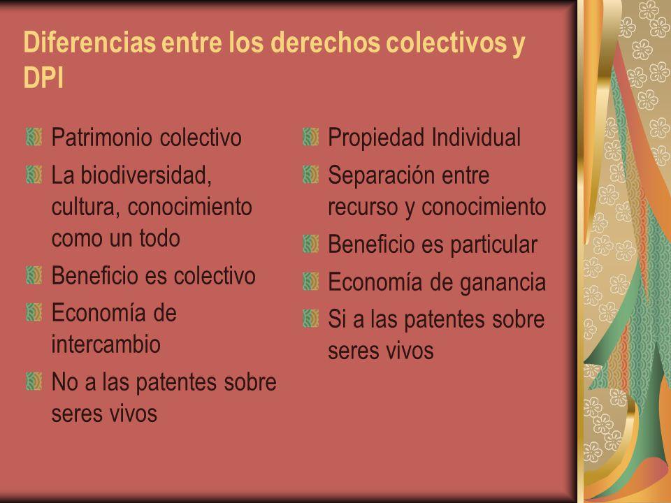Diferencias entre los derechos colectivos y DPI
